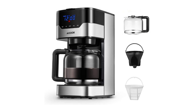 Aicook 12 Cup Programmable Coffee Maker with Timer